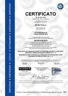 GF-ELTI Heat Treatment Service certified for Aerospace and Defence