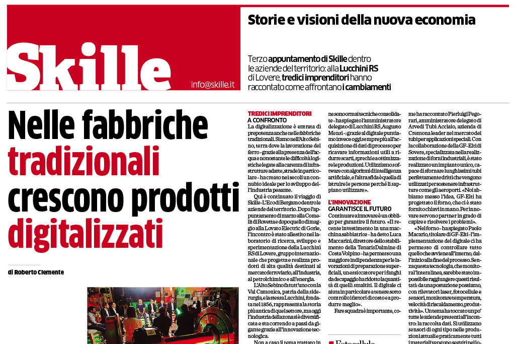 "Skille Special – L'Eco di Bergamo: ""The Factory that creates Smart Products"""